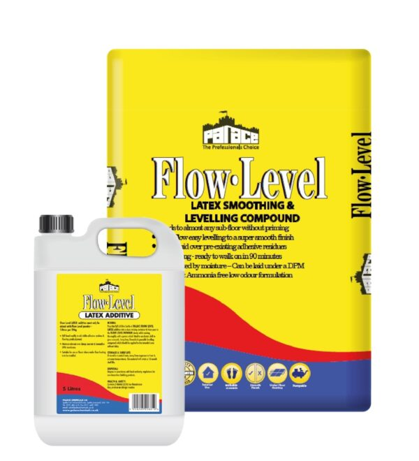 Flow-Level 2 Part Floor Levelling Compound 20kg with 5l of Latex Pallet of 54