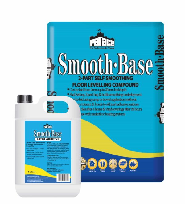 Smooth-Base 2 Part Floor Levelling Compound 20kg with 5l of Latex Pallet of 54