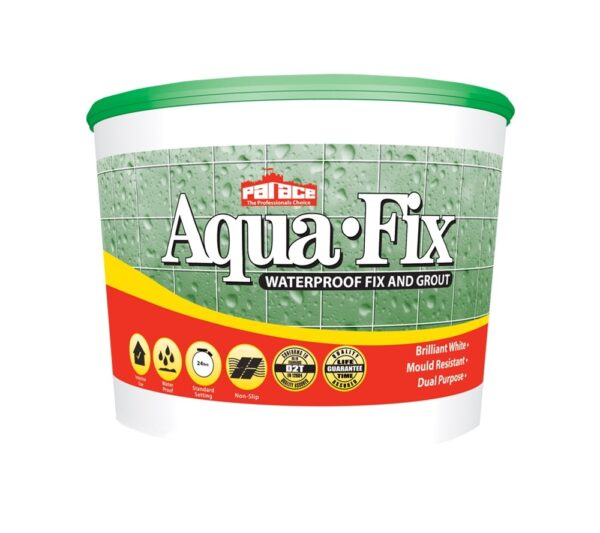 Aqua-Fix Waterproof Wall Tile Adhesive and Grout 15kg Pallet of 56